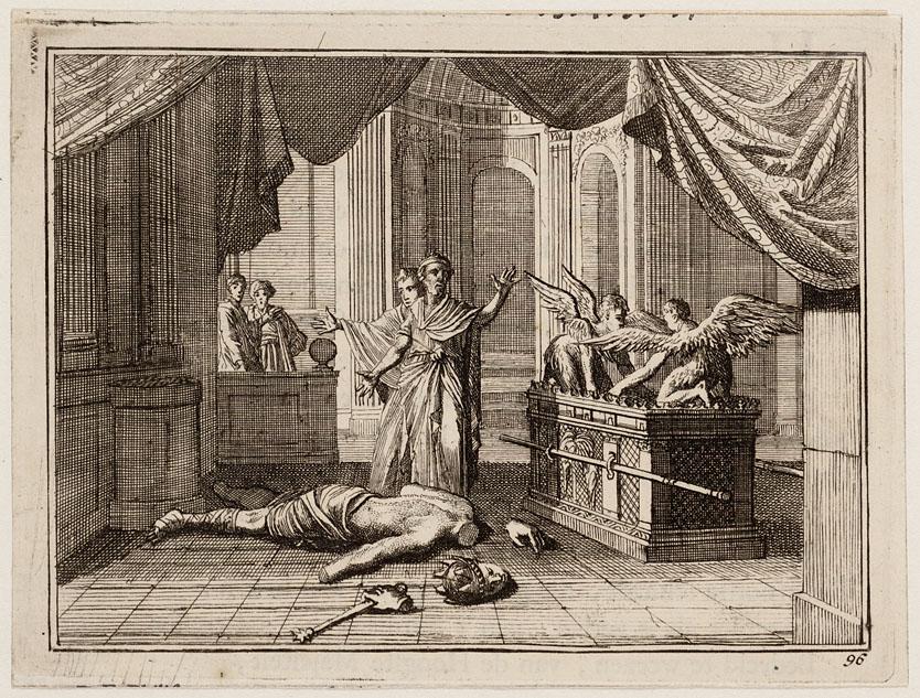 Het beeld van dagon wordt gevonden neergestort voor de ark des verbonds het geheugen van - Beeld het meisje van ...