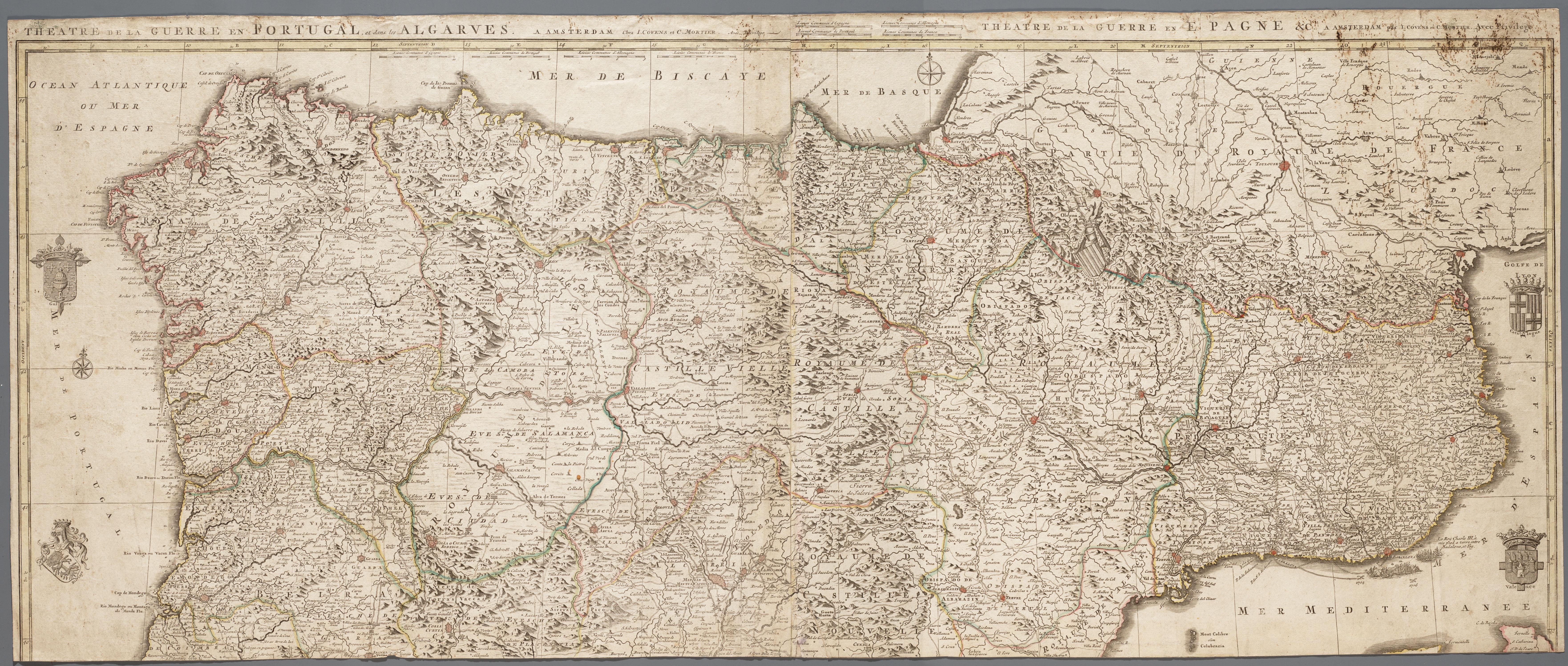 Kaart van het noordelijk deel van het iberisch schiereiland memory of the netherlands online - Noordelijke deel ...