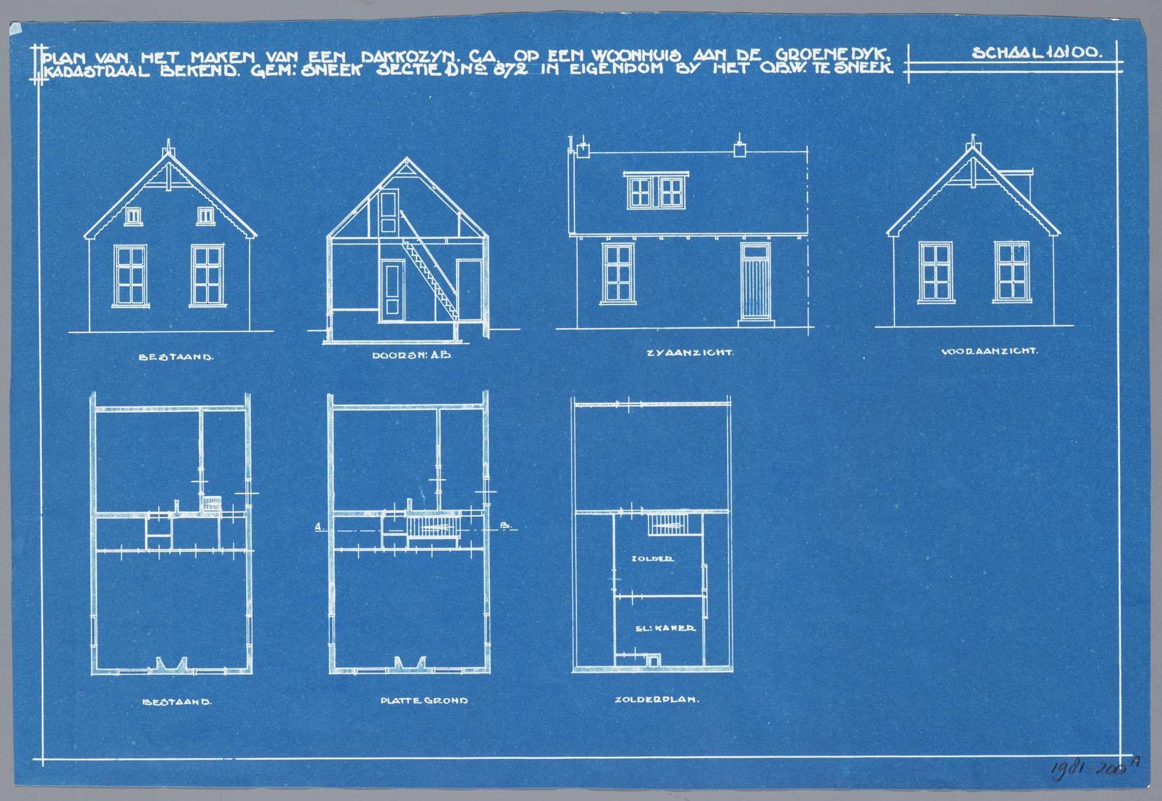 Bouwtekening van een huis aan de groenedijk te sneek dakkozijn het geheugen van nederland - Amenager een voorgerecht van het huis ...