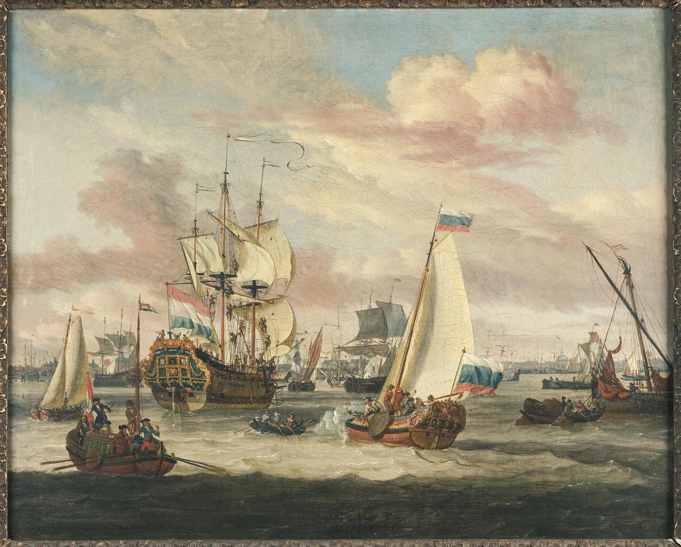Abraham storck schilderij spiegelgevecht op het ij het geheugen van nederland online - Schilderij in de kamer ...