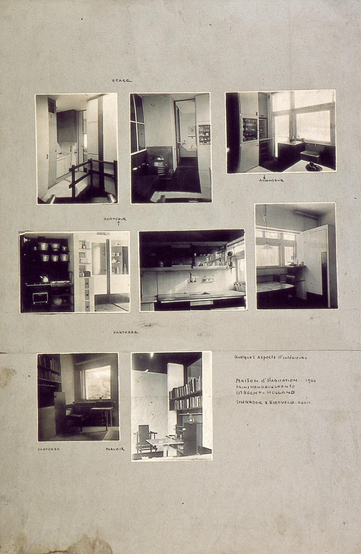 Acht foto\'s van interieur (keuken, eet-, bad-, studie- en woonkamer ...