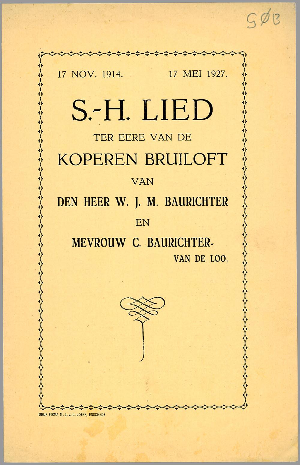 S H Lied Ter Eere Van De Koperen Bruiloft Van Den Heer