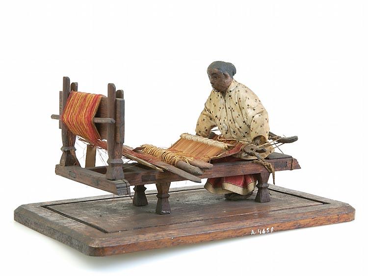Model van een weefster met weefgetouw geheugen van nederland - Model bibliotheek houten ...