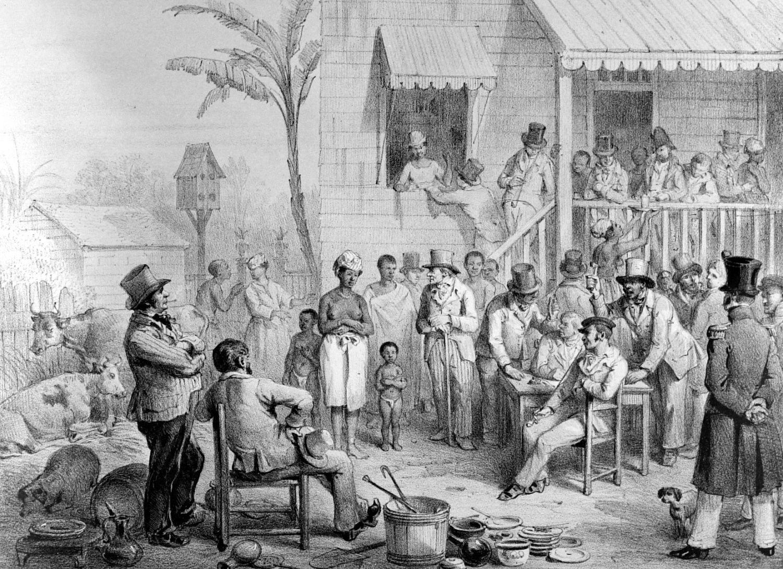 Een tekening van de verkoop van een vrouwelijke slaaf met haar kinderen het geheugen van - Zinkt de verkoop ...