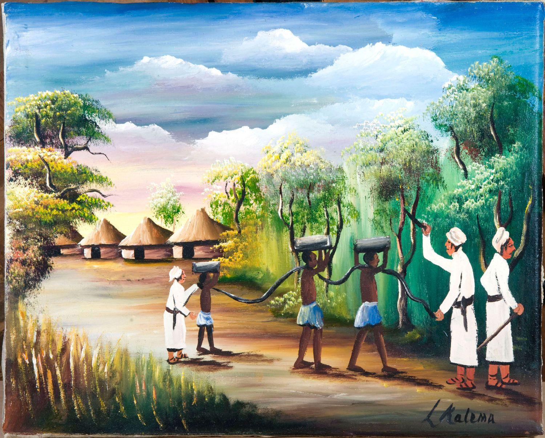 Schilderij Arabisch : Schilderij van slavendrijvers, op katoenen ...