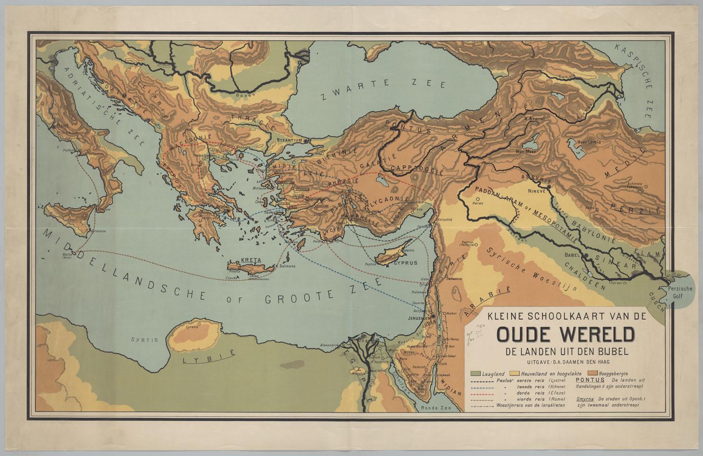 Kleine schoolkaart van de oude wereld de landen uit den bijbel het geheugen van nederland - Bibliotheek van de wereld ...