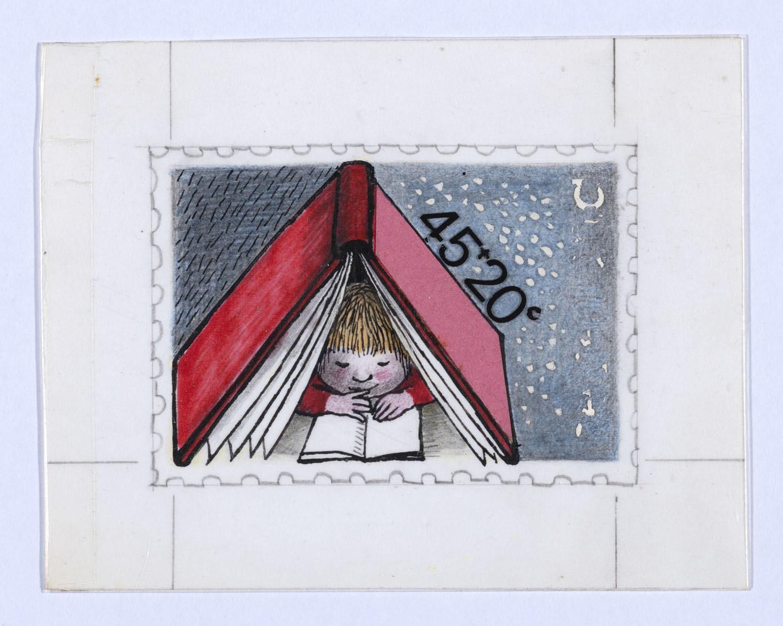 Ontwerp voor de kinderpostzegels 1978 kind dat leest het geheugen van nederland online - Ontwerp kind ...