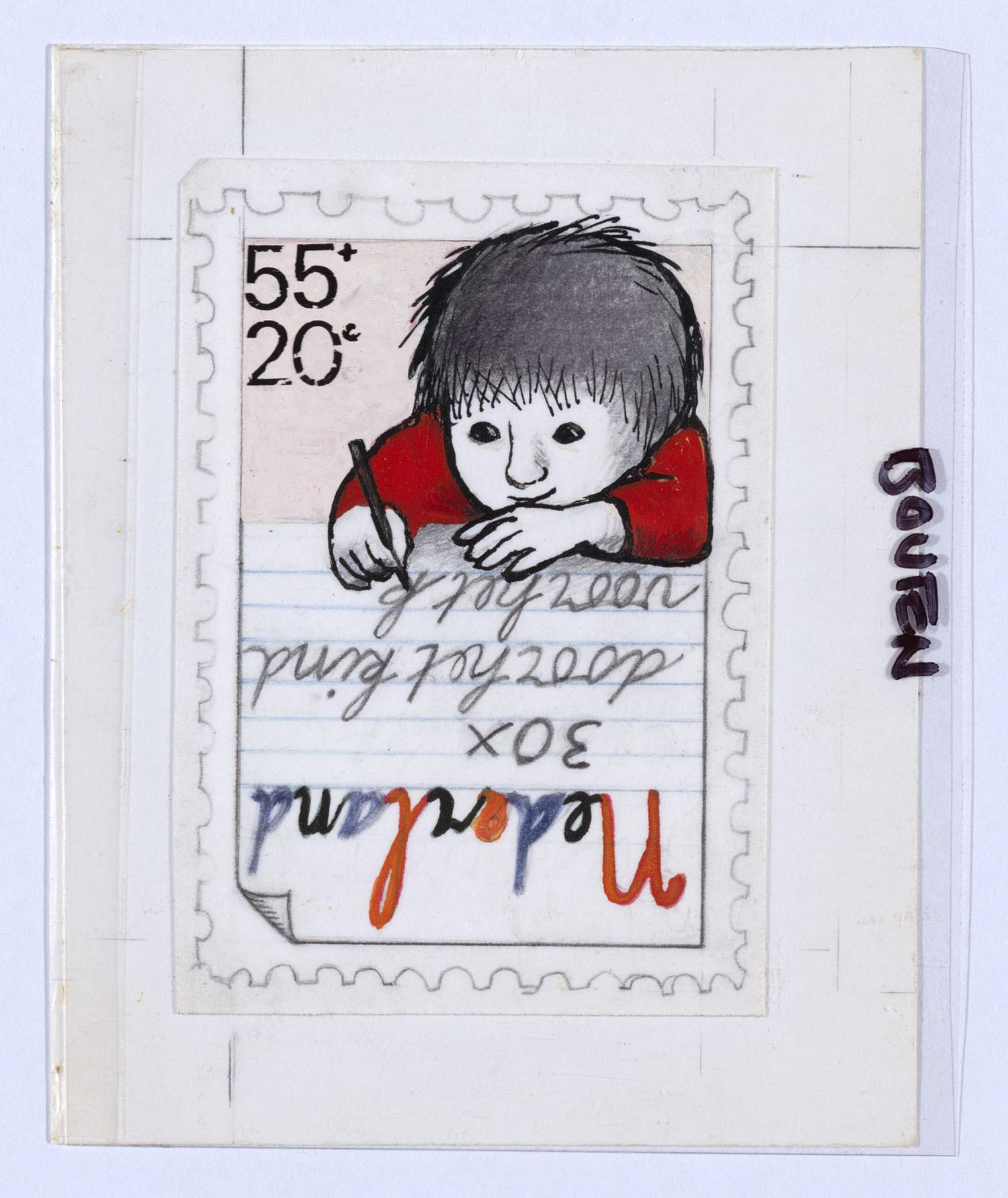 Ontwerp voor de kinderpostzegels 1978 kind dat schrijft het geheugen van nederland online - Ontwerp kind ...