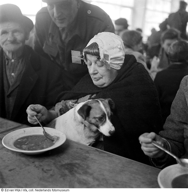 Berta Baarland with dog and Jan Oele in shelter Ossendrecht just after the flood (1953)
