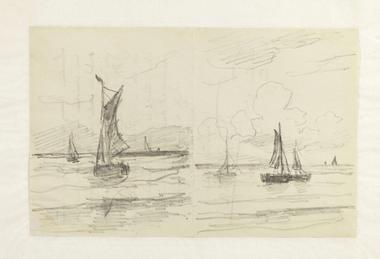 Twee schetsen op een dubbelgevouwen blad van bomschuiten op zee geheugen van nederland - Klein kamermeisje ...