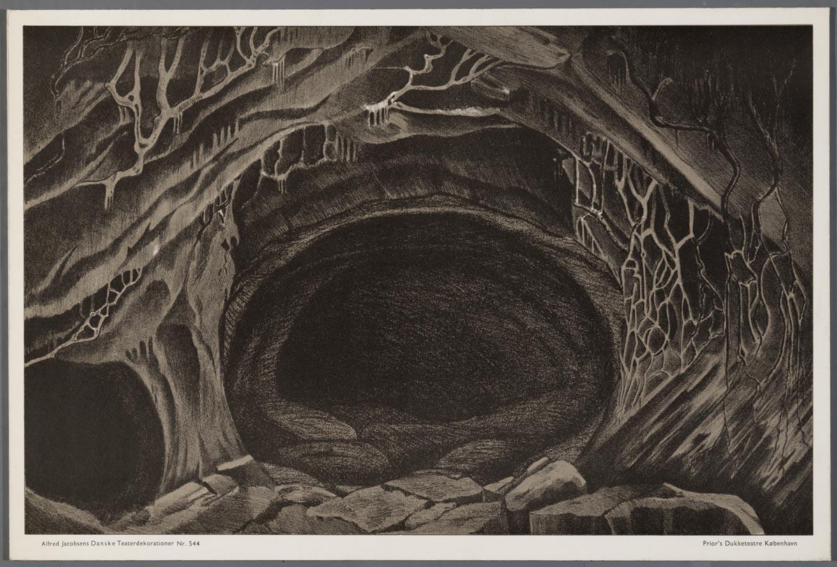 Bouwplaat van een papieren theater voorstellende een decor van een grot het geheugen van - Ventilatie grot een vin ...