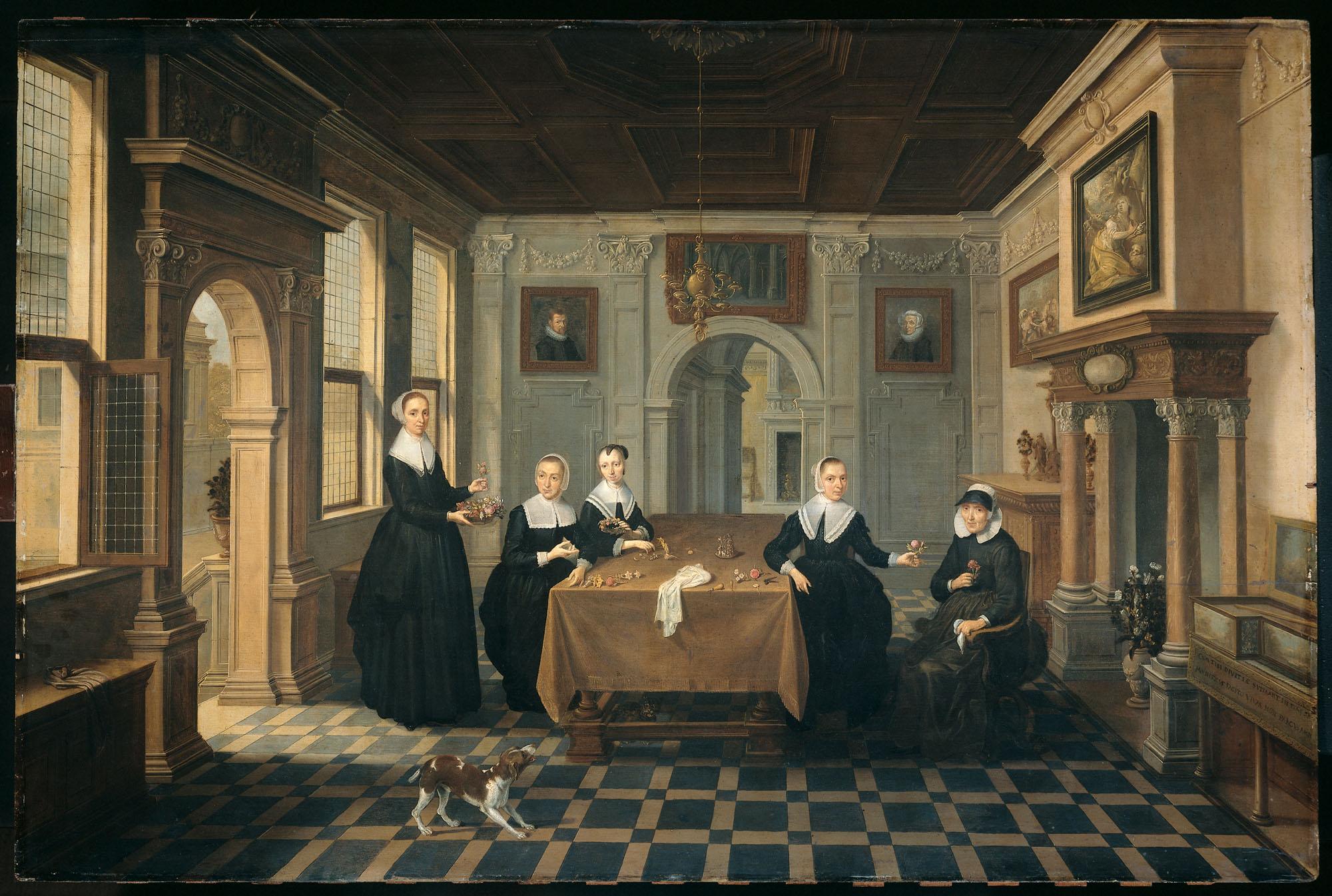 Interieur met vijf dames - Geheugen van Nederland