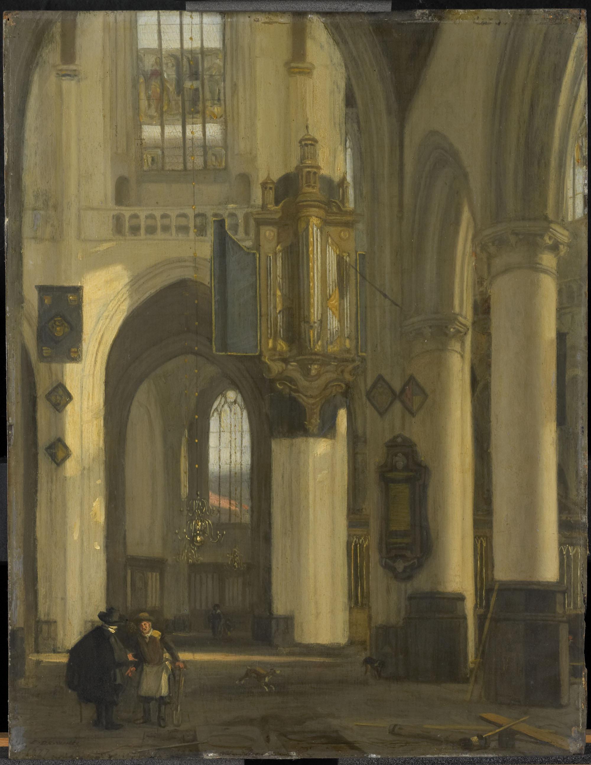 Interieur van een protestantse gotische kerk met motieven - Makers van het interieur ...