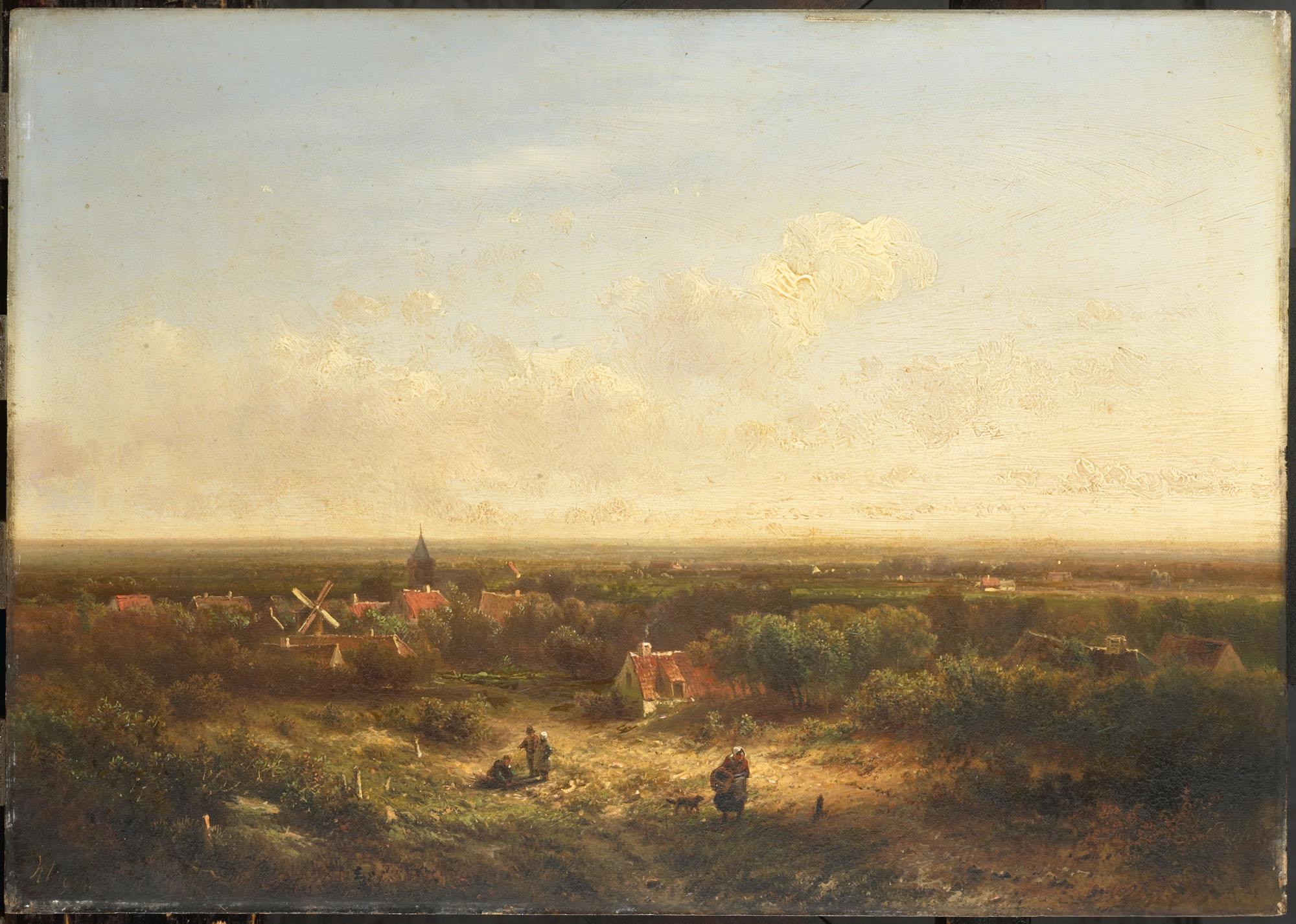 Landschap met dorpje en windmolen geheugen van nederland - Klein kamermeisje ...