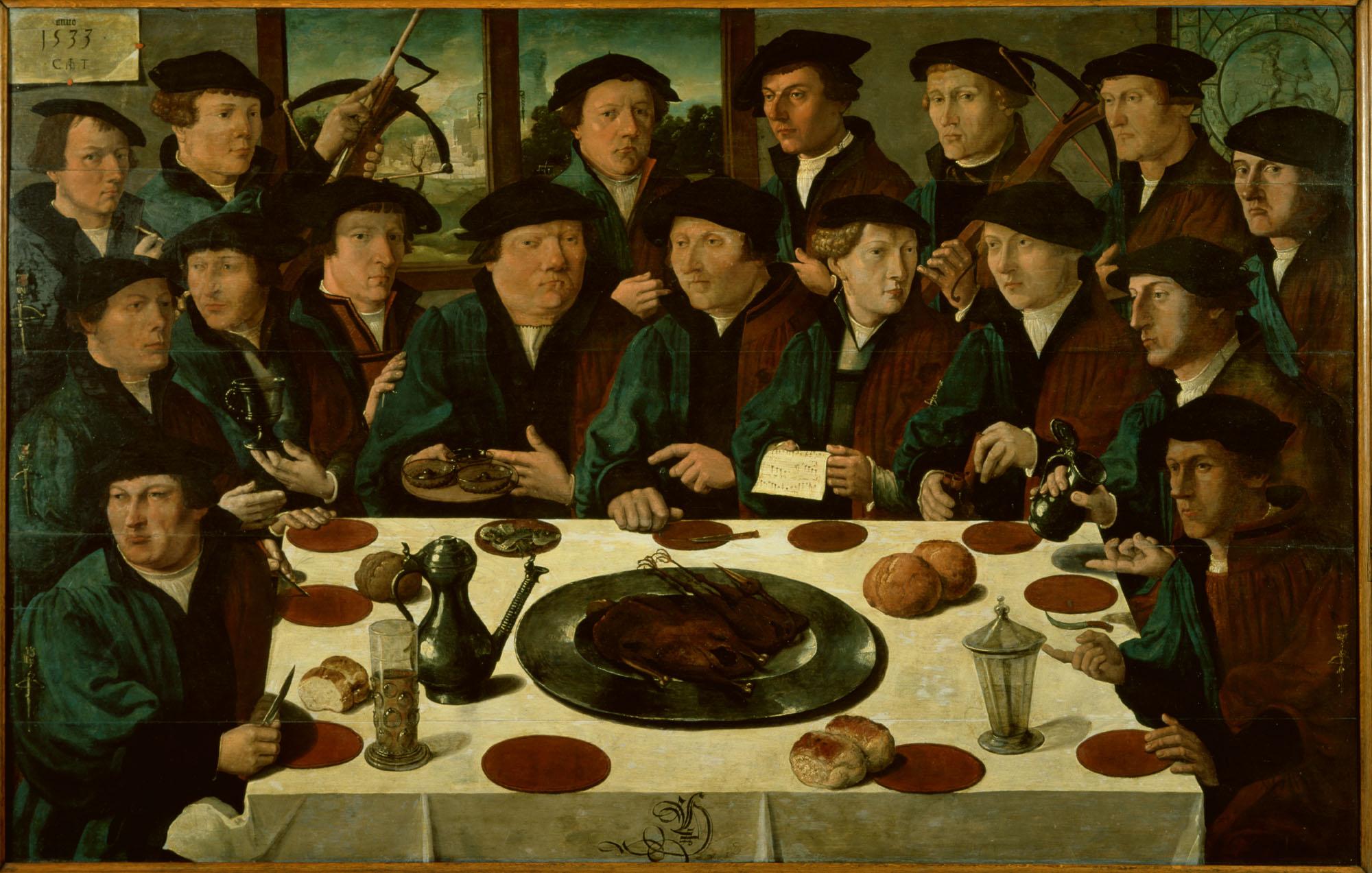 Maaltijd van zeventien schutters van de voetboog st joris doelen te amsterdam 1533 bekend - Eiland maaltijd ...