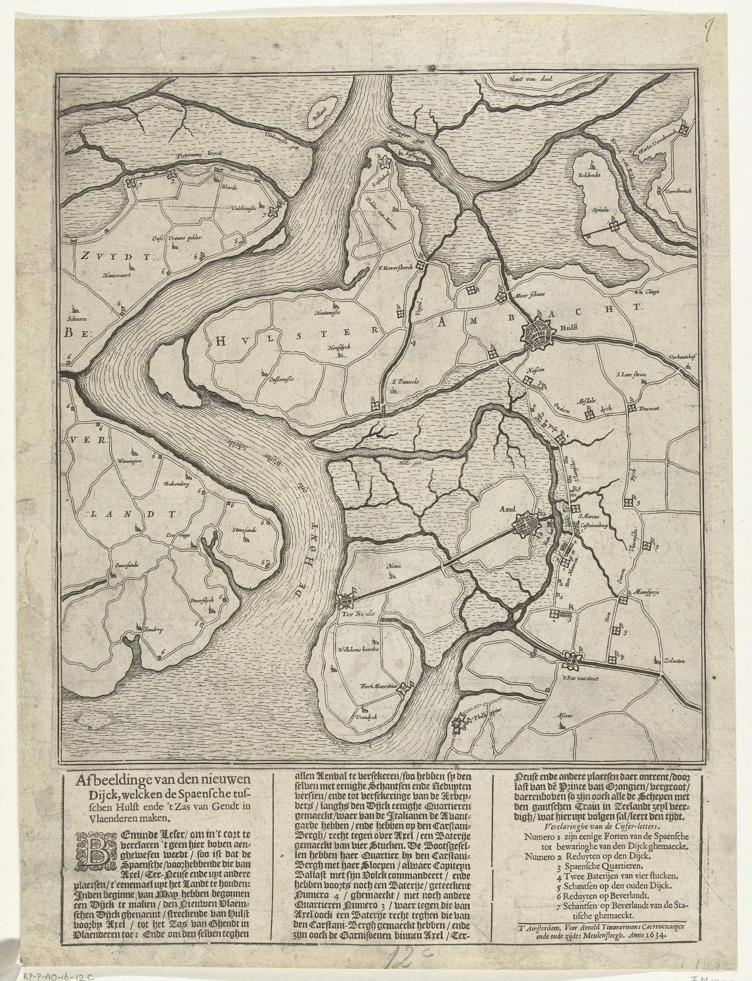 Kaart met de nieuwe dijk tussen hulst en sas van gent 1634 het geheugen van nederland - Kaart evenwicht tussen werk en ...