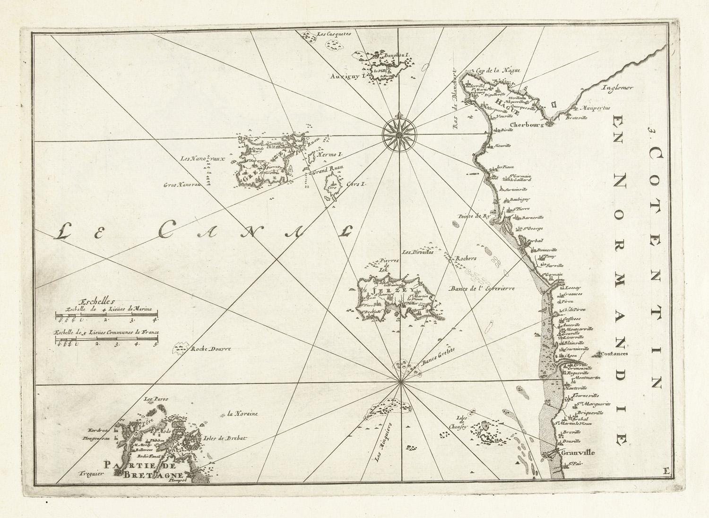 Kaart van de franse kust tussen cherbourg en granville ca 1702 het geheugen van nederland - Kaart evenwicht tussen werk en ...