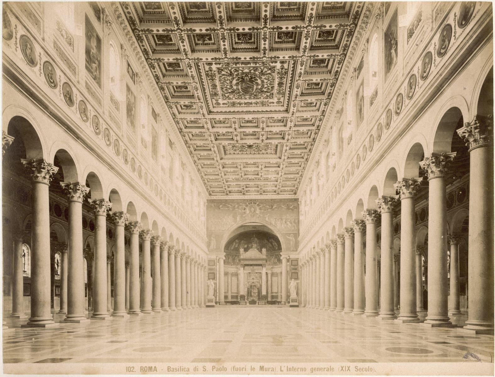 Rome basiliek st paulus buiten de muren san paolo fuori le mura interieur itali eind 19e for Interieur 19e eeuw