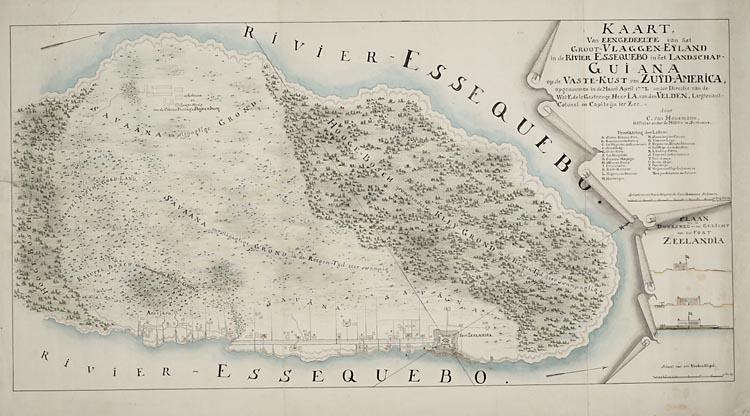Kaart van een gedeelte van het groot vlaggen eijland in de rivier