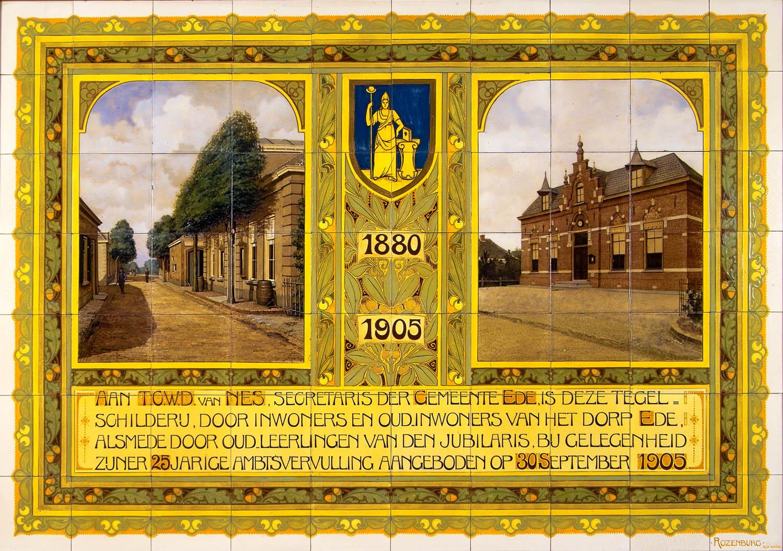 Tegels Den Haag : Tegeltableau van 70 keramische tegels met beschildering in