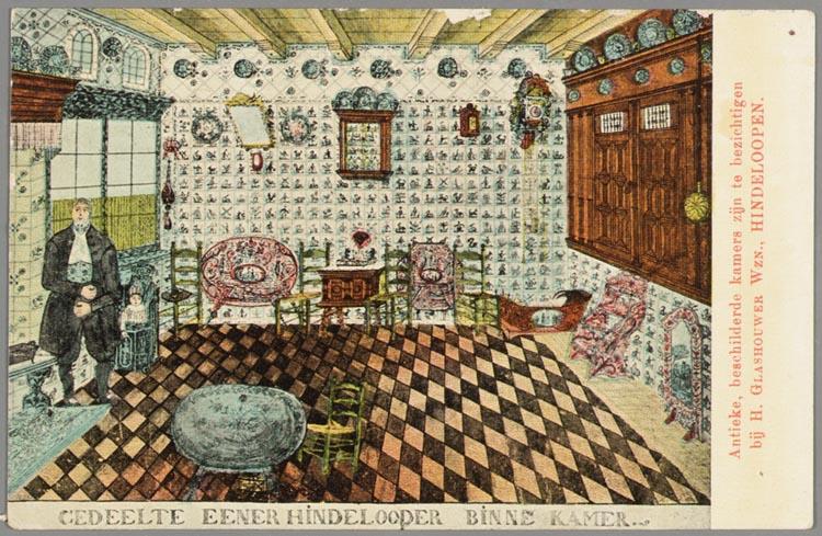 Gedeelte eener hindelooper binne kamer antieke beschilderde kamers zijn te bezichtigen bij h - Kamer van mozaiekwater ...